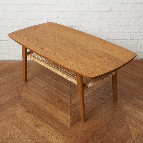 RT LOW TABLE  楢無垢材xラタン