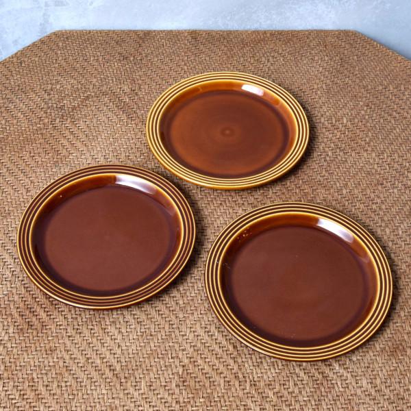ホーンジー Hornsea Pottery HEIRLOOM / Autumn brown プレート 17.5cm 3枚セット
