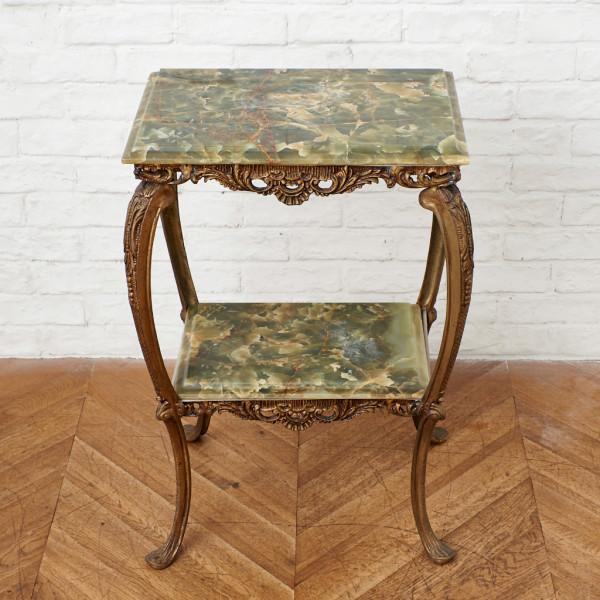 大理石天板 グリーンオニキス サイドテーブル