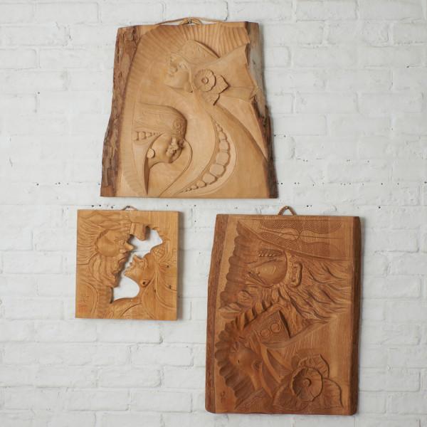 アイヌ民芸 木彫装飾 レリーフ