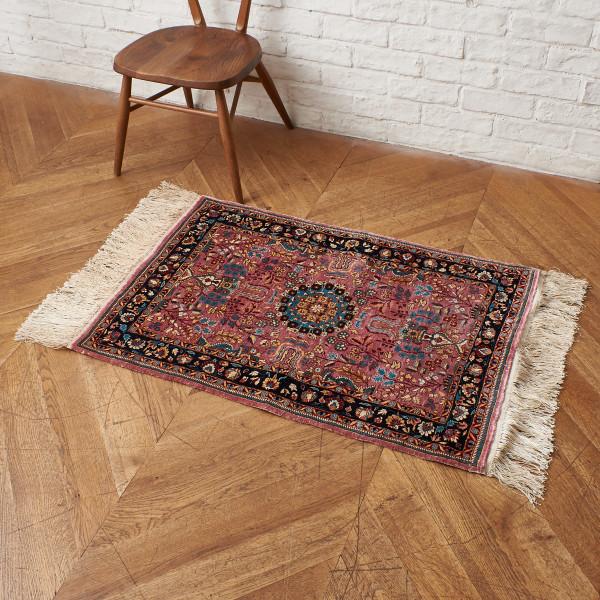 シルクxウール製 手織り ペルシャ絨毯