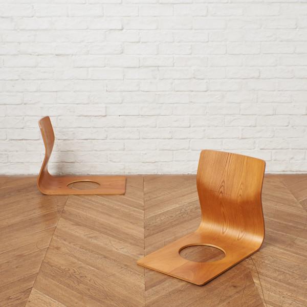 天童木工 TENDO 藤森健次 欅材 座椅子 2脚セット