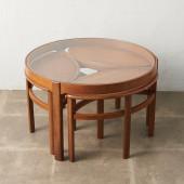 ヴィンテージ ネストテーブル&ガラストップ コーヒーテーブル