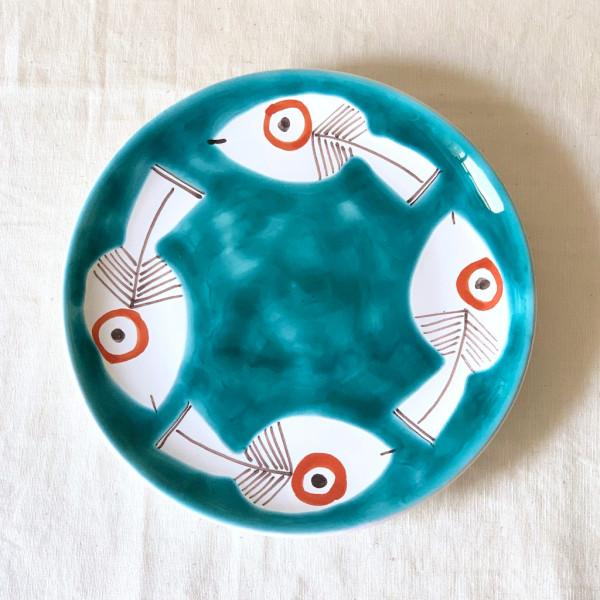 Susannna de Simone 絵皿 19cm 4匹のサカナ