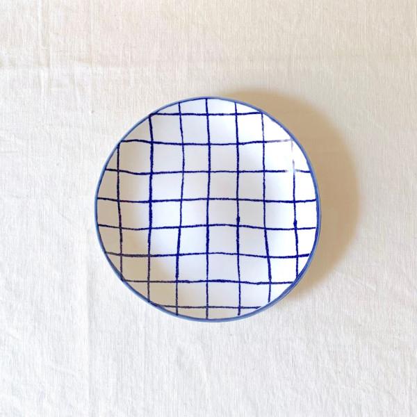 マリアンヌハルバーグ 瀬戸焼 丸皿 チェック S