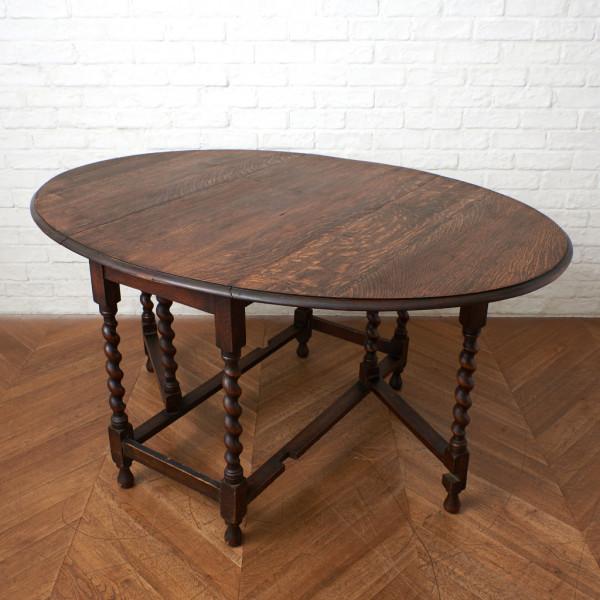 英国製 アンティーク ドロップリーフ ゲートレッグテーブル
