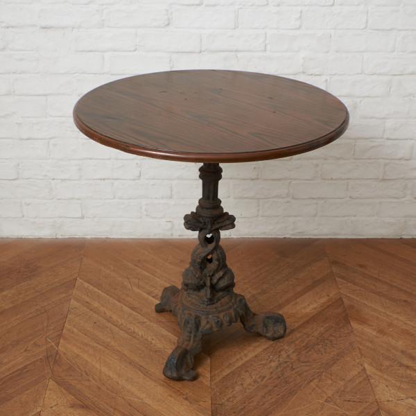 オーク天板xアンティーク鉄脚 カフェテーブル