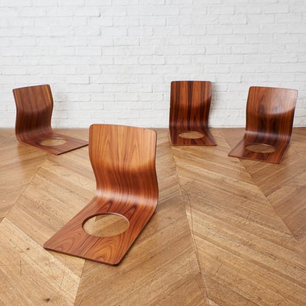 天童木工 TENDO 藤森健次 ブラジリアンローズウッド 座椅子 4脚セット